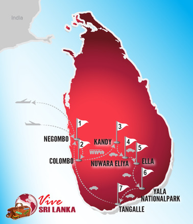 Sri Lanka Rundreise | Landkarte Hochzeitsreise
